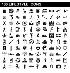 100 lifestyle icons set simple style vector image