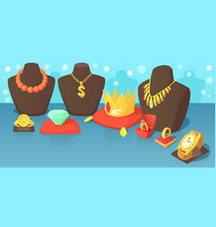 jewelry horizontal banner concept cartoon style vector image