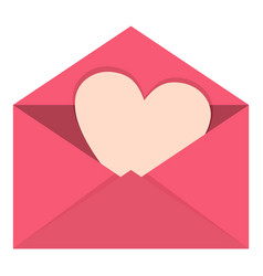 pink envelope with valentine heart icon isolated vector image
