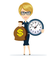 Woman holding a money bag and clock vector
