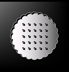 Round biscuit sign gray 3d printed icon vector