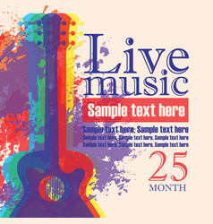 Banner with acoustic guitar on grunge background vector