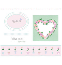 Floral borders frames and decorative elements set vector
