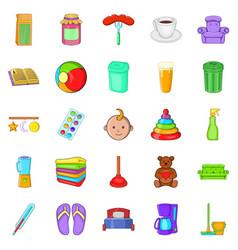 Home economics icons set cartoon style vector