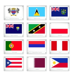 A set of national flags on metal texture plates vector