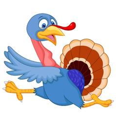 Cartoon turkey running vector image