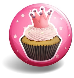 Cupcake on pink badge vector image