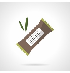 Chocolate protein bar flat icon vector