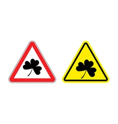 Warning sign clover hazard yellow sign shamrock vector