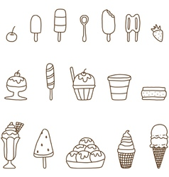 Collection of colorful tasty ice cream vector