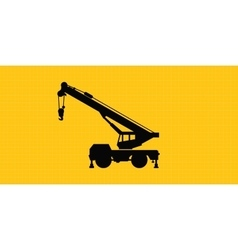 Mobile crane site construction isolated silhouette vector