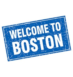 Boston blue square grunge welcome to stamp vector