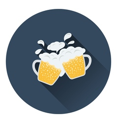 Two clinking beer mugs with fly off foam icon vector