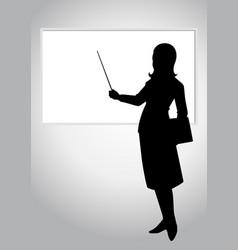 a woman pointing a whiteboard vector image vector image
