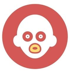 Baby head flat round icon vector