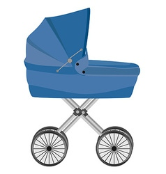 Blue baby carriage vector image vector image