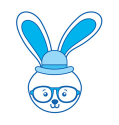 Blue icon rabbit face vector