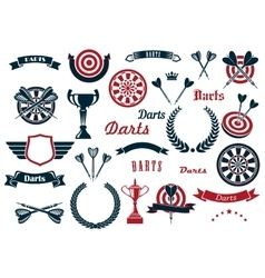 Darts sport game design elements and items vector