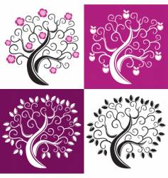 four trees vector image vector image