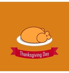 Fried chicken for thanksgiving flat vector