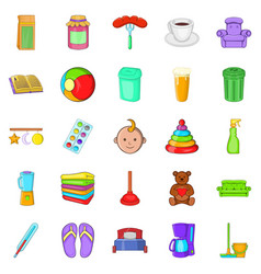 Home economics icons set cartoon style vector