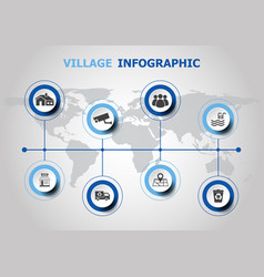 Infographic design with village icons vector