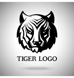 logo template with tiger face for badges vector image vector image