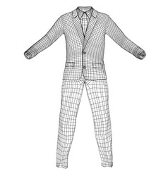 mans suit in wire-frame style vector image