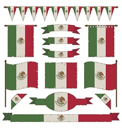 Mexican flag decorations vector