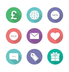 Online shop flat design icons set vector image vector image