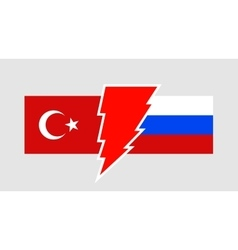 Politic relationship between russia and turkey vector