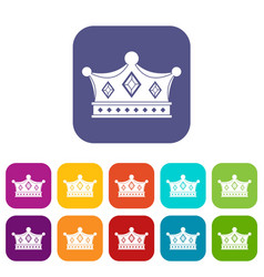 Prince crown icons set flat vector