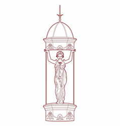 Red drawing of a caryatid vector