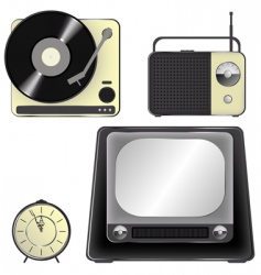 retro object icons icon set vector image