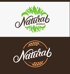 set of natural hand written lettering logo vector image