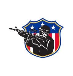 Soldier swat policeman rifle shield vector