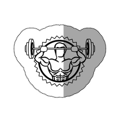 Sticker contour stamp border with muscle man vector