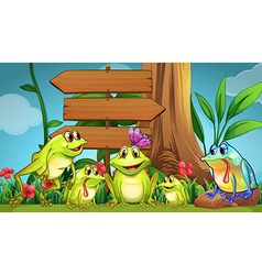 Wooden sign and green frogs in the park vector image