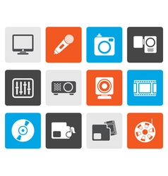 Flat media equipment icons vector