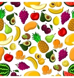 Seamless pattern of healthy fresh fruits vector