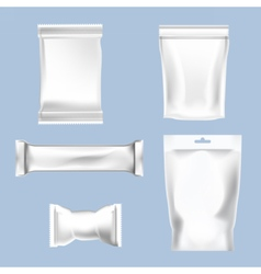 Set of white polyethylene foil package vector