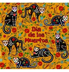Sugar skull cats vector