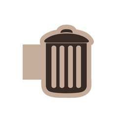 color emblem with silhouette metal trash bin vector image