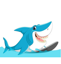 cute shark surfing cartoon vector image