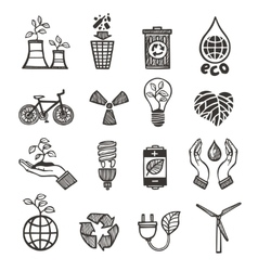 Ecology and waste icons set vector