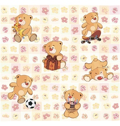 Wallpaper with stuffed bear cubs vector