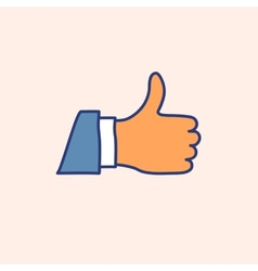 Hand drawn doodle thumb up icon vector image