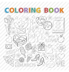Coloring bookMarch set vector image