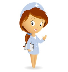 Cute female nurse with tablet notepad chart vector