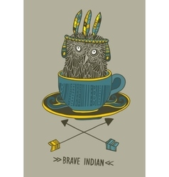 Cute doodle owl in the cup with indian symbols vector